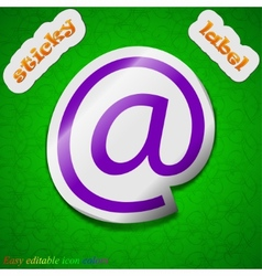 Mail icon sign Symbol chic colored sticky label on vector