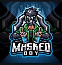 masked boy esport mascot logo design vector image