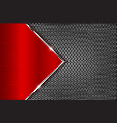 Metal perforated background with red steel plate vector