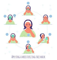Moisturizing sheet face mask application steps vector
