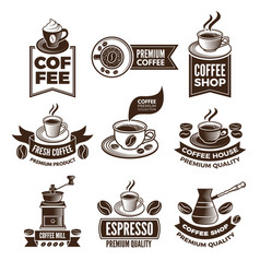 Monochrome coffee labels in retro style vector