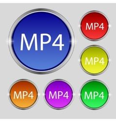 Mpeg4 video format sign icon symbol Set of colored vector image