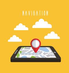 navigation tablet technology gps clouds vector image