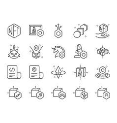 nft line icon set vector image