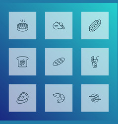 nutrition icons line style set with apple pie hot vector image