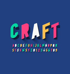 Paper style font design vector