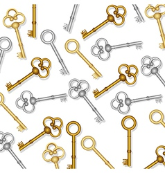 pattern of old keys gold and silver on white backg vector image