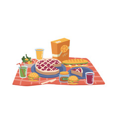 Picnic food on blanket cake sandwiches and juice vector