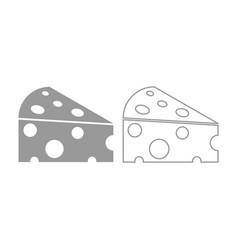 Piece cheese icon grey set vector