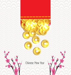 Plum Blossom and ingot Spilled out from red packet vector