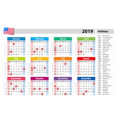 Public holidays for the usa calendar 2019 vector
