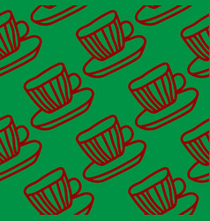 Red and green tea cups seamless pattern design vector