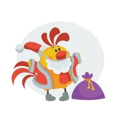 Rooster Bird in Santa s Cloth with Bag Presents vector image