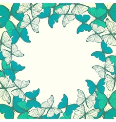 Round frame with decorative butterflies vector image