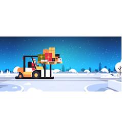 santa claus driving forklift truck loading vector image