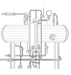 Scetch heat exchanger on white vector