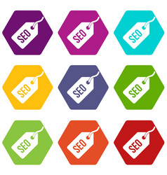 seo tag icon set color hexahedron vector image