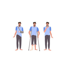 Set man with injuries fracture leg arm and neck vector