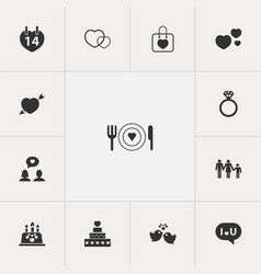 Set of 13 editable heart icons includes symbols vector