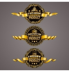 Set of luxury gold badges vector
