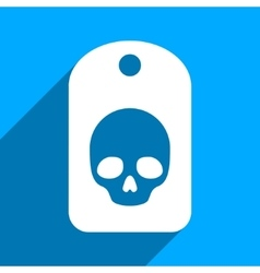 Skull Label Flat Square Icon with Long Shadow vector