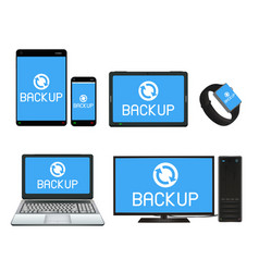 smart device and computer backing up data vector image