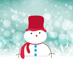 Snowman background with snowflakes vector