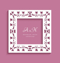 square frame with cutout border pattern vector image