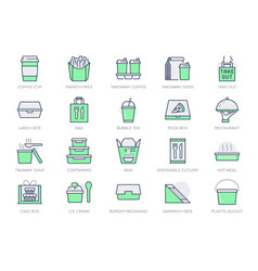 take away food service line icons vector image