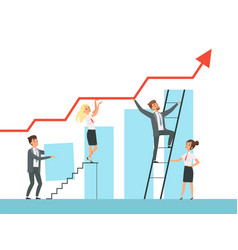 Team building business managers growth up stairs vector
