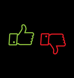 thumb up and thumb down line icons vector image