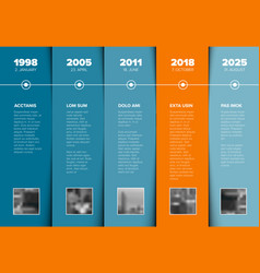 timeline template with blue blocks and photo vector image
