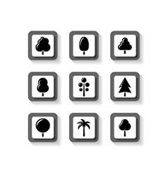 Trees on buttons set vector