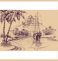 Tropical gulf and boat pirates bay vector