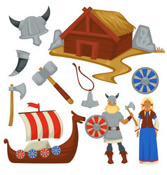 viking history and culture weapon and ship man vector image