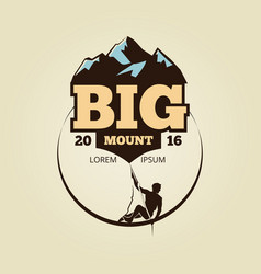 vintage mountain climbling logo - sport activity vector image