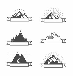 Vintage mountain with ribbon vector