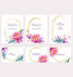 Watercolor wedding cards set with lotus and lily vector