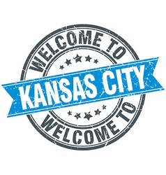 Welcome to Kansas City blue round vintage stamp vector