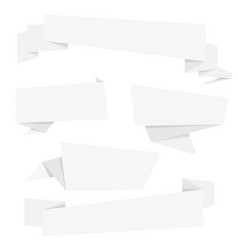 white paper folding origami banner collection vector image