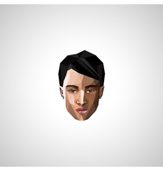 with an asian guy face in polygonal style vector image