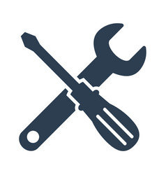 wrench and screwdriver icon on white background vector image