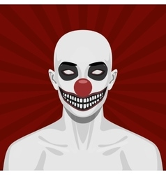 Bald scary Clown with smiling Face vector image