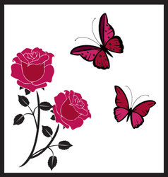butterflies with roses vector image vector image