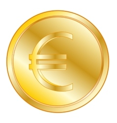Coin with sign euro vector image vector image