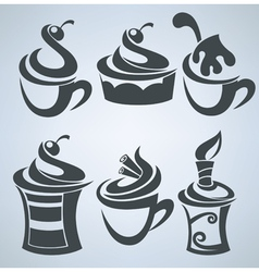 collection of cakes and sweet drinks vector image