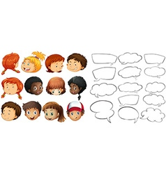 Kids and speech bubble templates vector image vector image