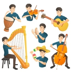 Musician concept set cartoon style vector image