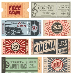 Retro Tickets and Coupons vector image vector image