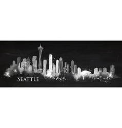 Silhouette chalk Seattle vector image